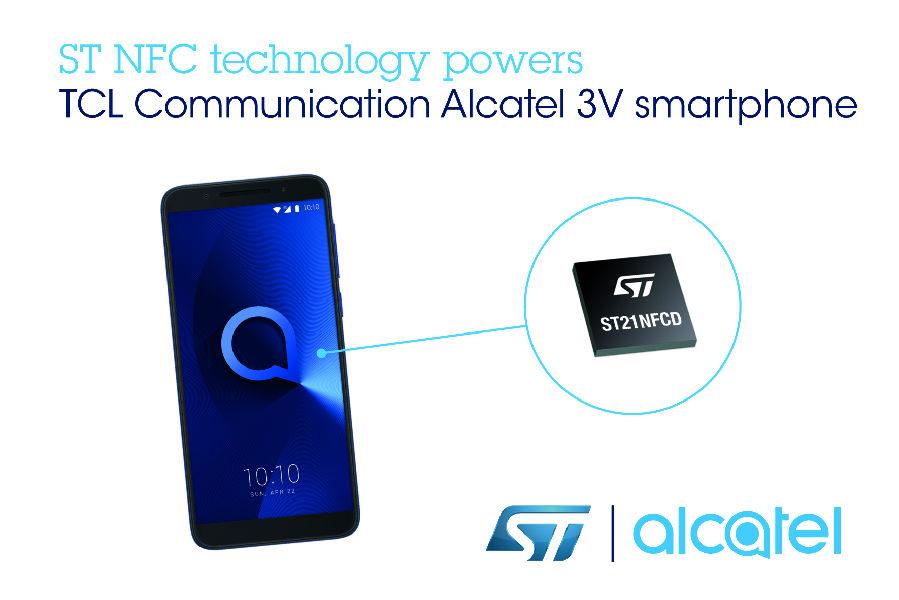 TCL通讯Alcatel 3V智能手机选用意法半导体NFC技术,为用户带来卓越的非接触式体验