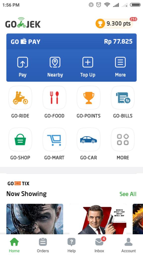在 Go-Jek 的 APP 里,用户可通过主页上的蓝色区域内的图标使用 Go-Pay 的不同功能