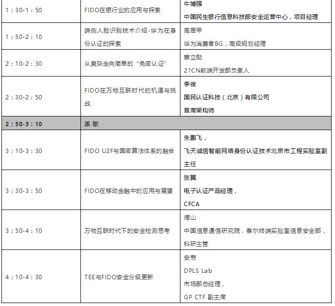 2018年FIDO-W3C北京研讨会议程更新