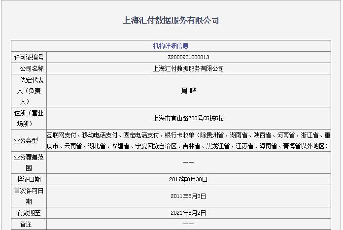 上海汇付天下数据服务有限公司支付业务许可信息