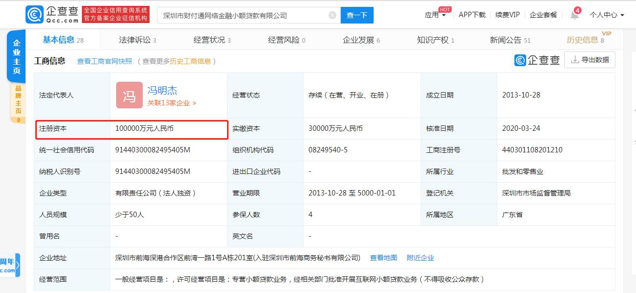 腾讯财付通网络小贷注册资本增至10亿元
