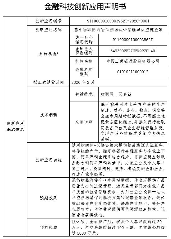 金融科技创新应用申明书:基于物联网的物品溯源认证管理与供应链金融