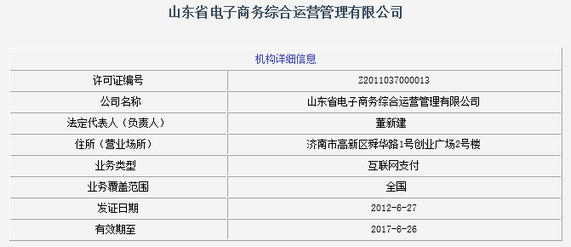 山东省电子商务综合运营管理有限公司牌照信息