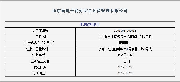 山东省电子商务综合运营管理有限公司支付牌照