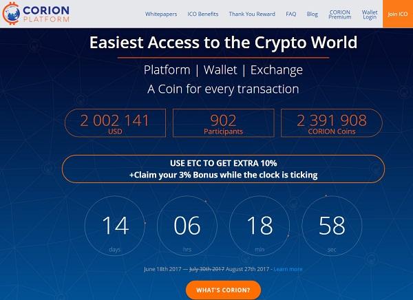 以太坊加密货币支付平台Corion Platform延期ICO融资