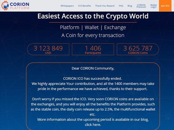 以太坊加密货币支付平台Corion Platform完成 ICO 融资,募集312.38万美元